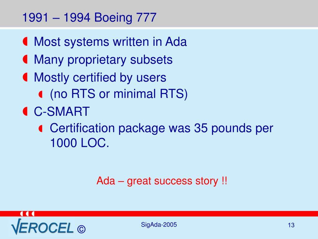 1991 – 1994 Boeing 777
