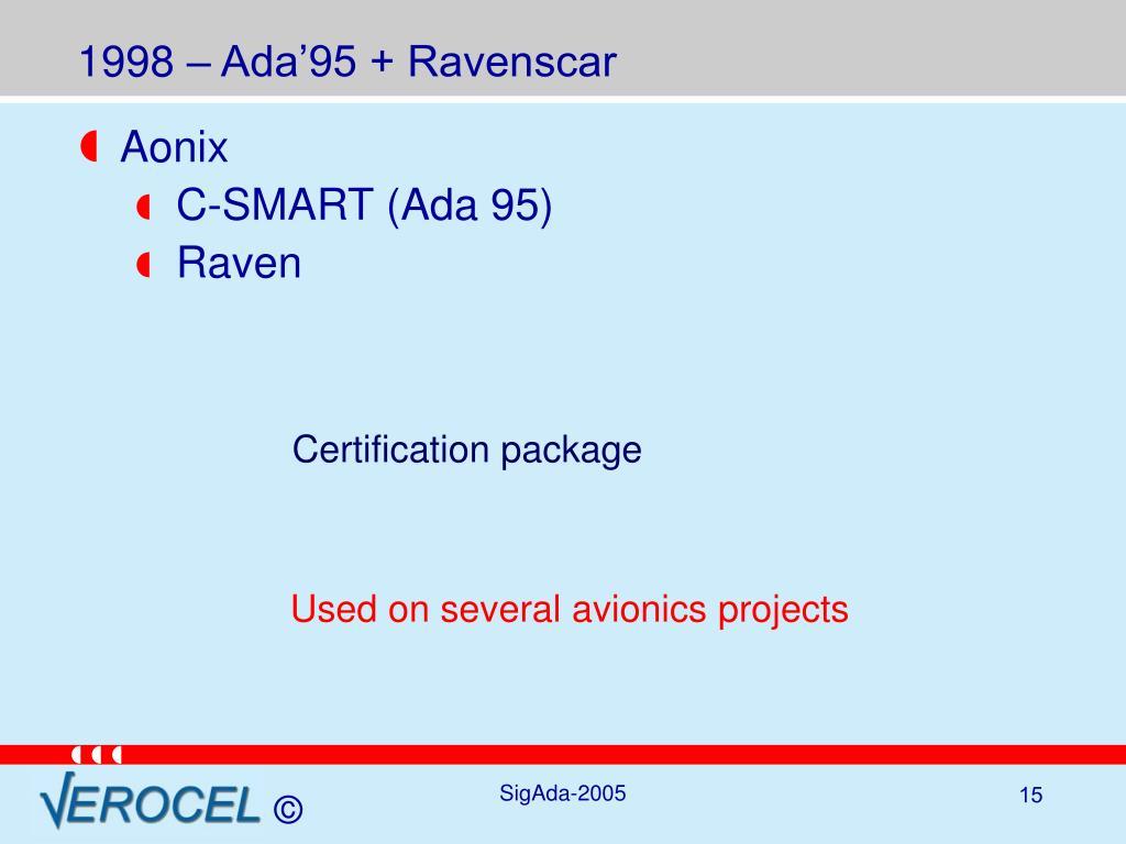1998 – Ada'95 + Ravenscar