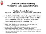 god and global warming christianity and a sustainable world10