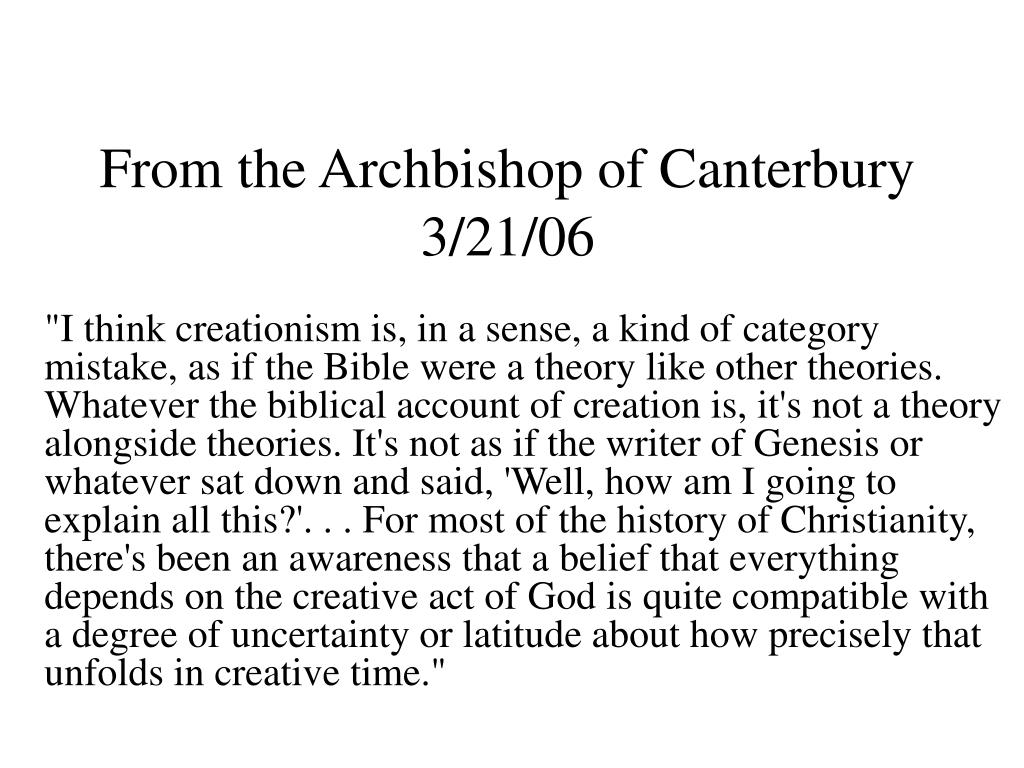 From the Archbishop of Canterbury