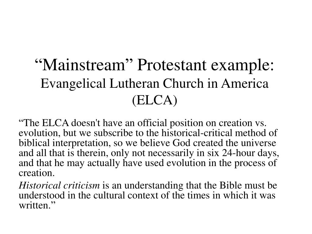 """Mainstream"" Protestant example:"
