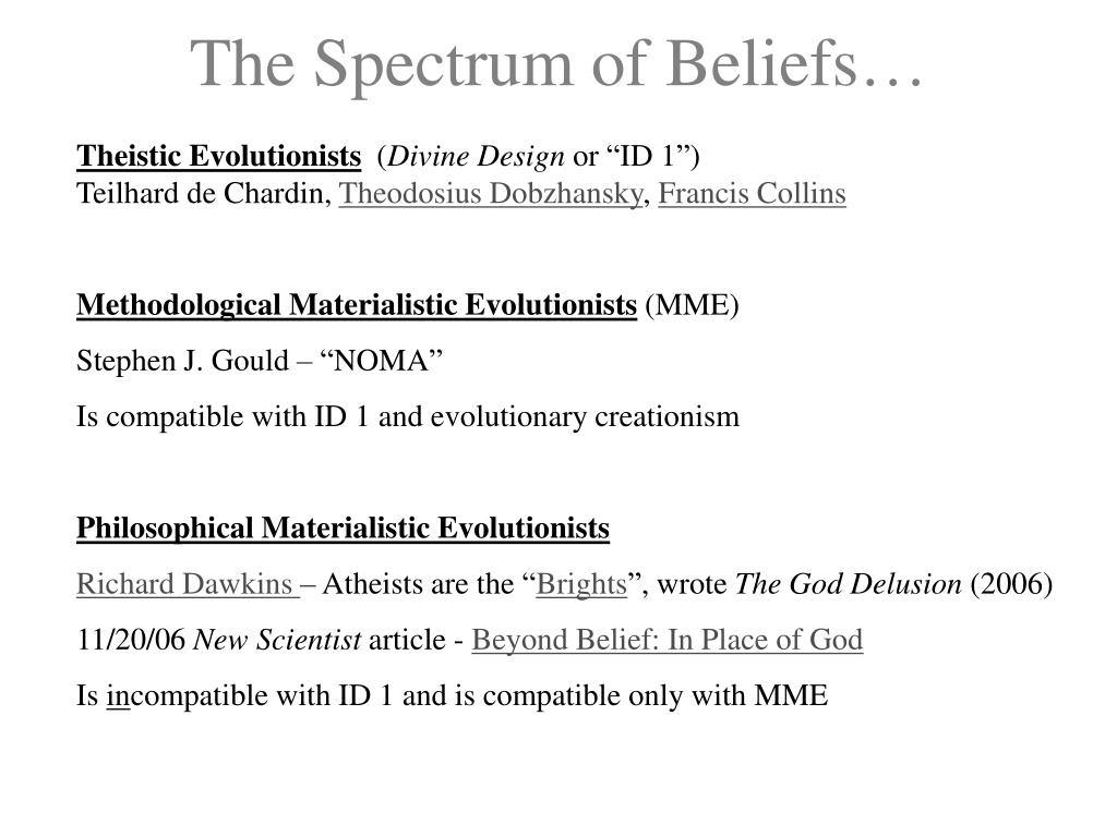 The Spectrum of Beliefs…