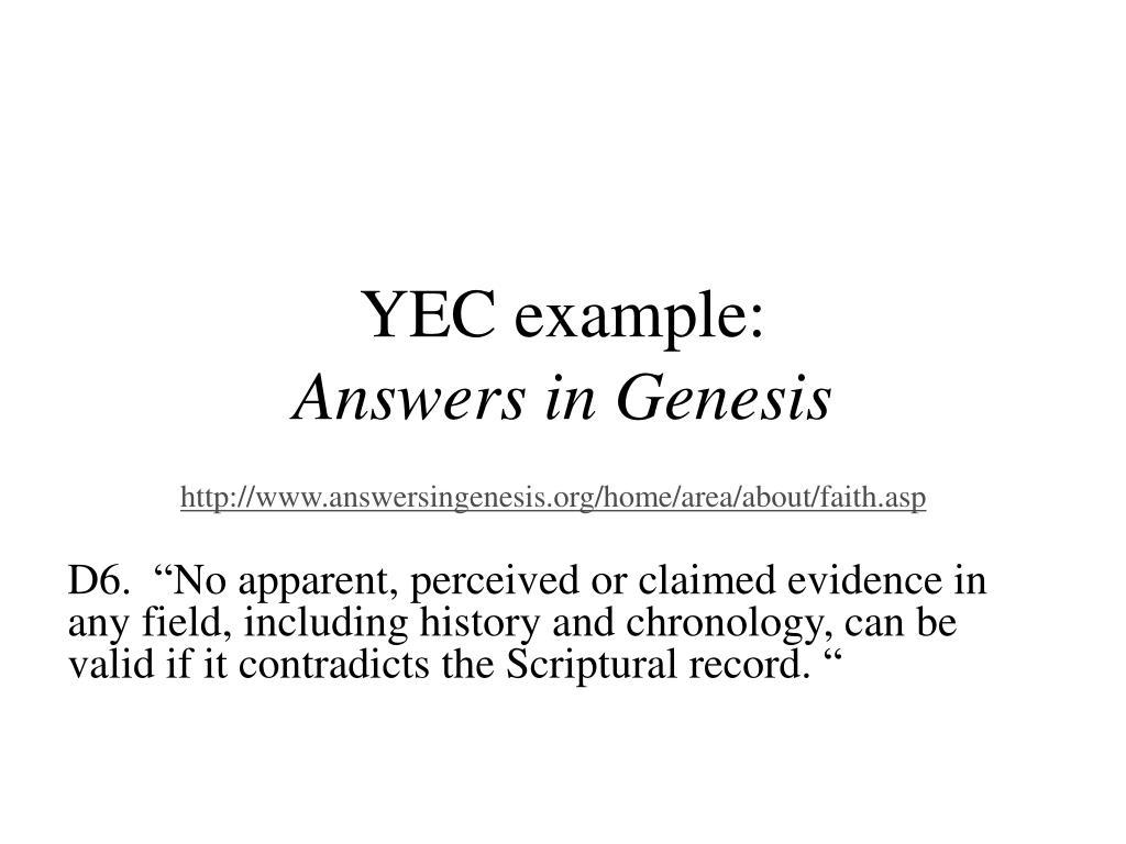 YEC example:
