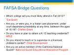 fafsa bridge questions