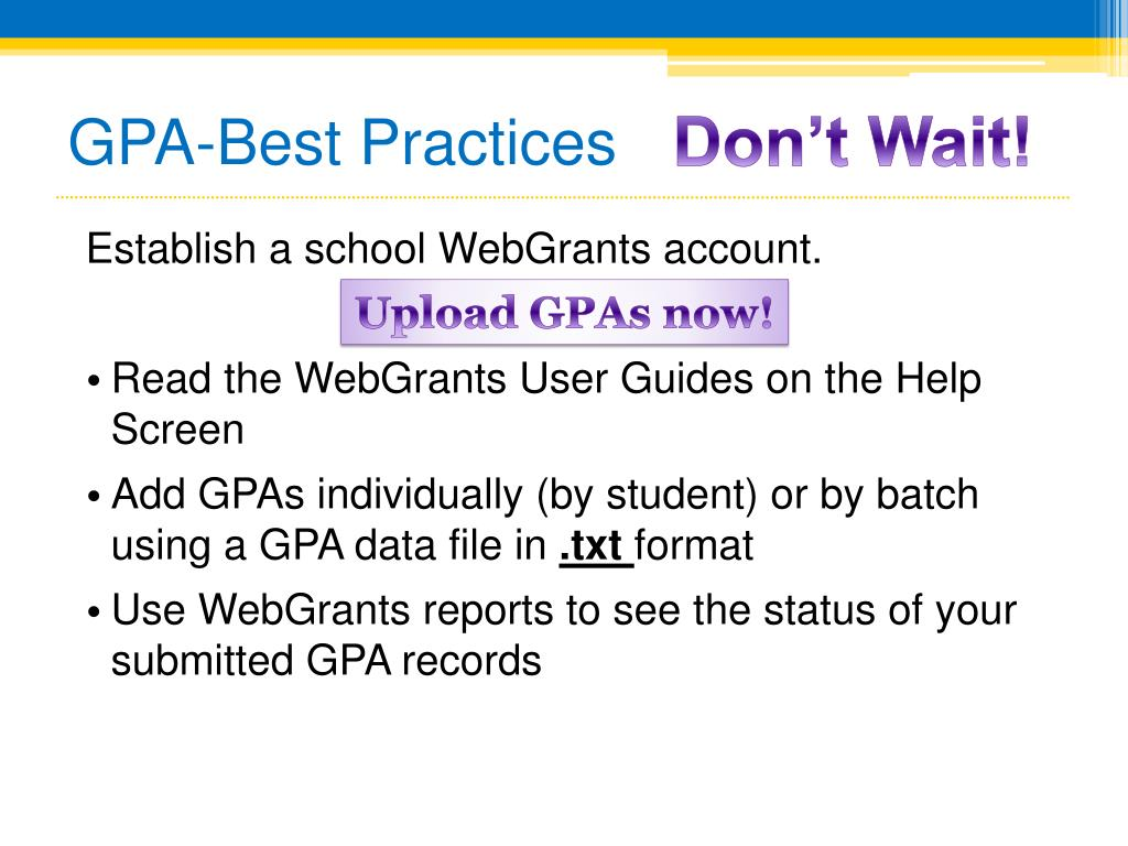 GPA-Best Practices