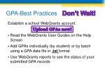 gpa best practices