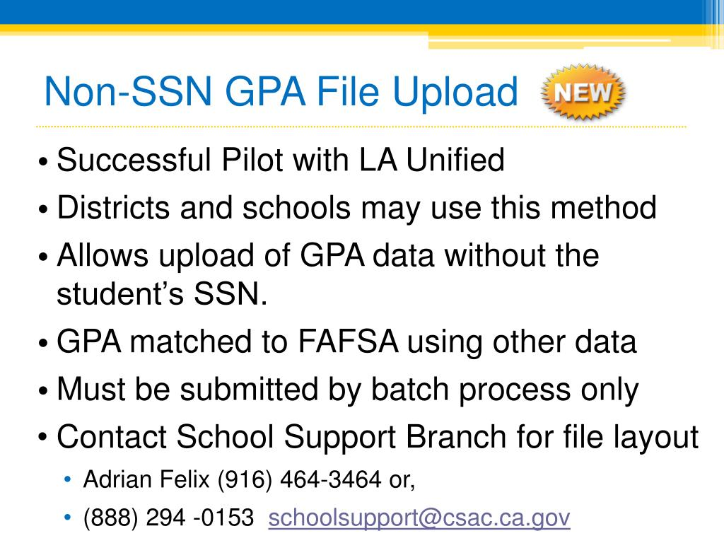Non-SSN GPA File Upload
