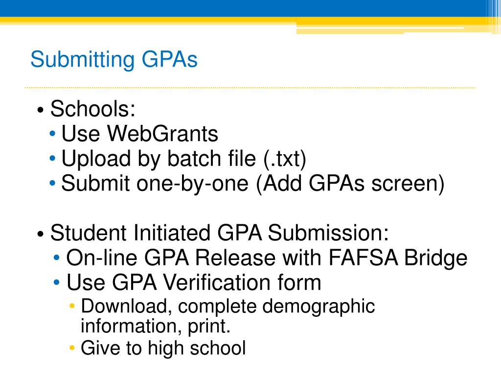 Submitting GPAs