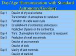 day age harmonization with standard astronomy geology