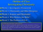 outline of class investigating christianity