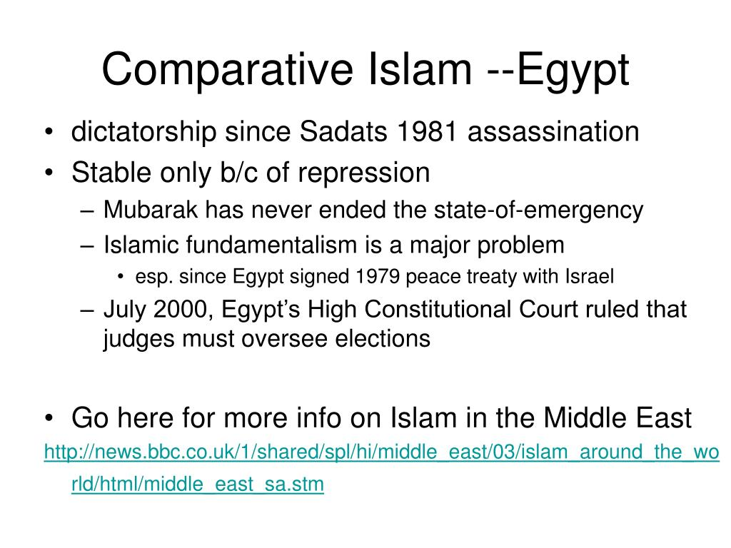 Comparative Islam --Egypt