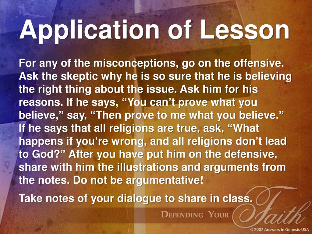 Application of Lesson