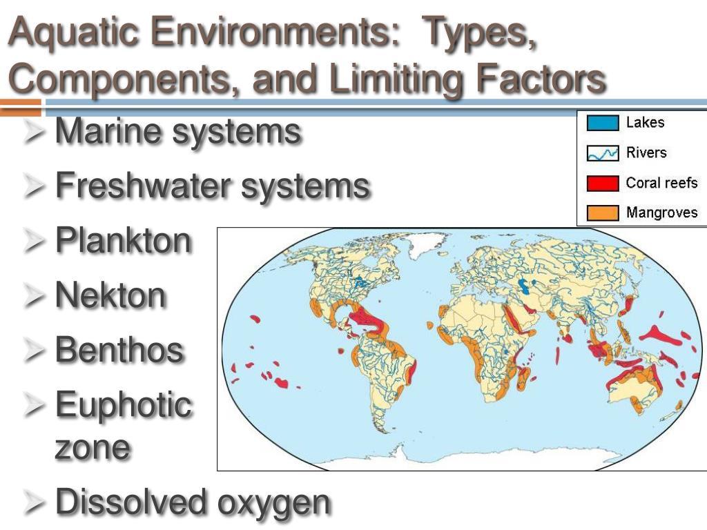 Aquatic Environments:  Types, Components, and Limiting Factors