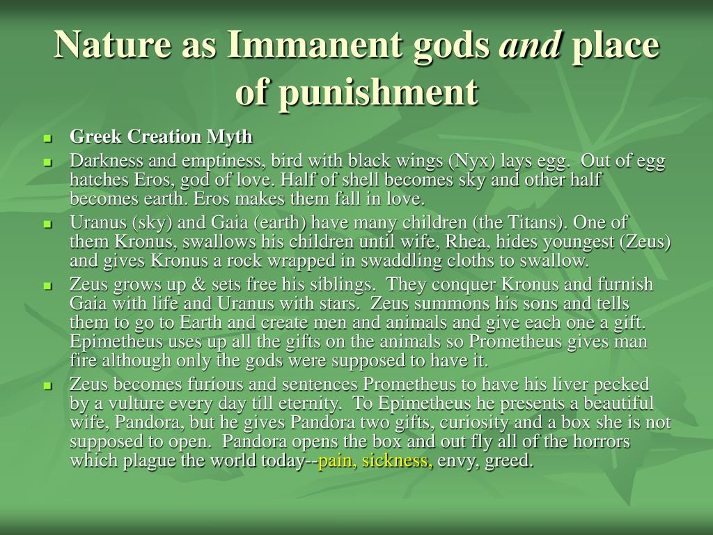 Nature as Immanent gods