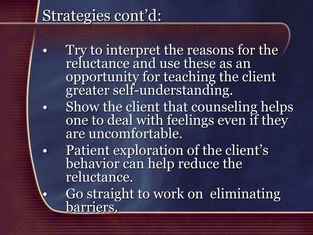 Strategies cont'd: