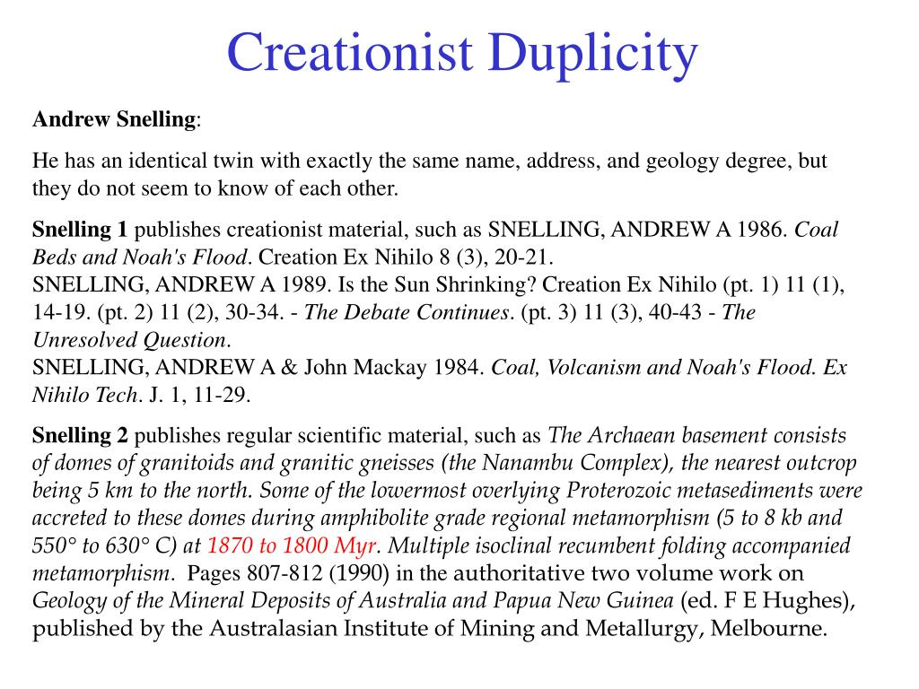 Creationist Duplicity