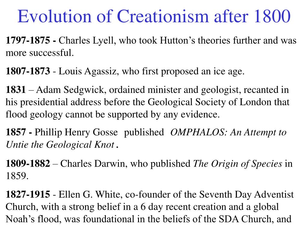 Evolution of Creationism after 1800