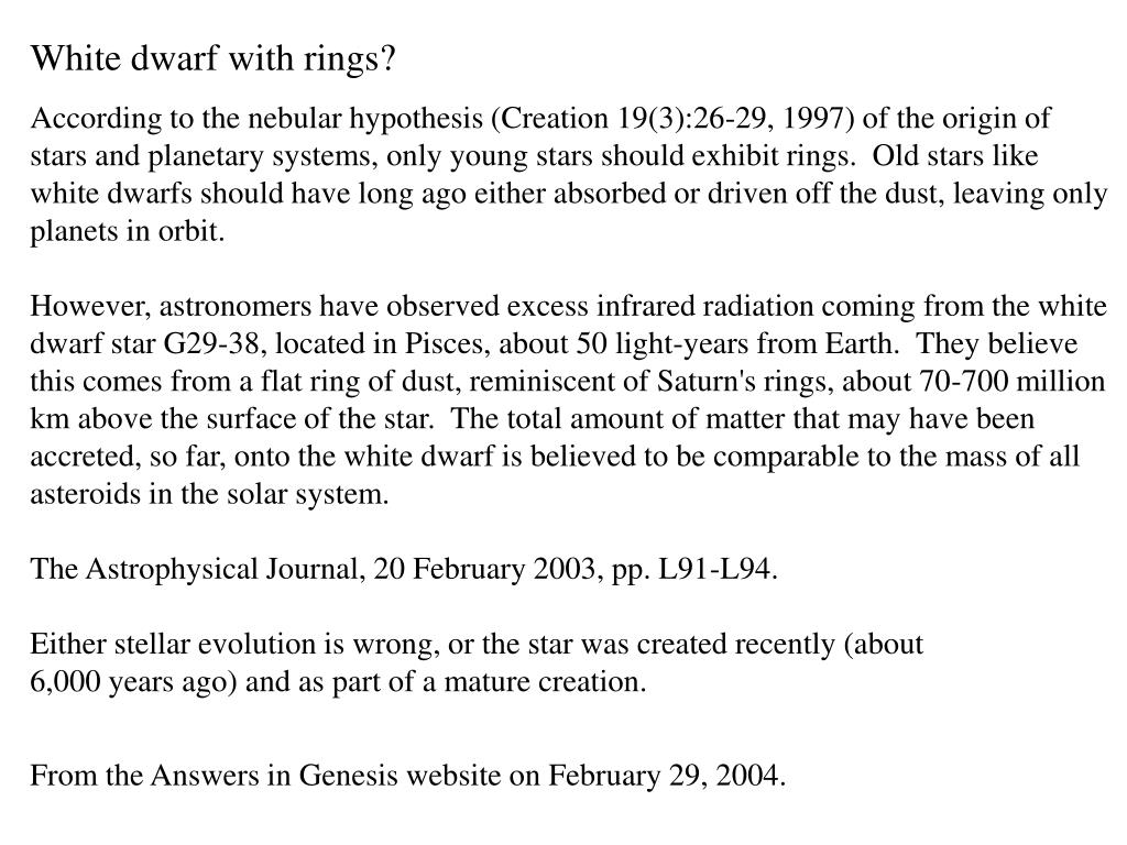 White dwarf with rings?