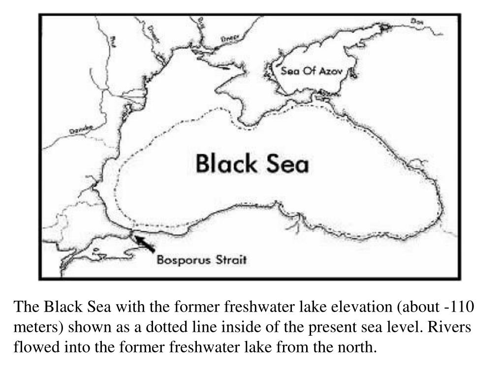 The Black Sea with the former freshwater lake elevation (about -110 meters) shown as a dotted line inside of the present sea level. Rivers flowed into the former freshwater lake from the north.