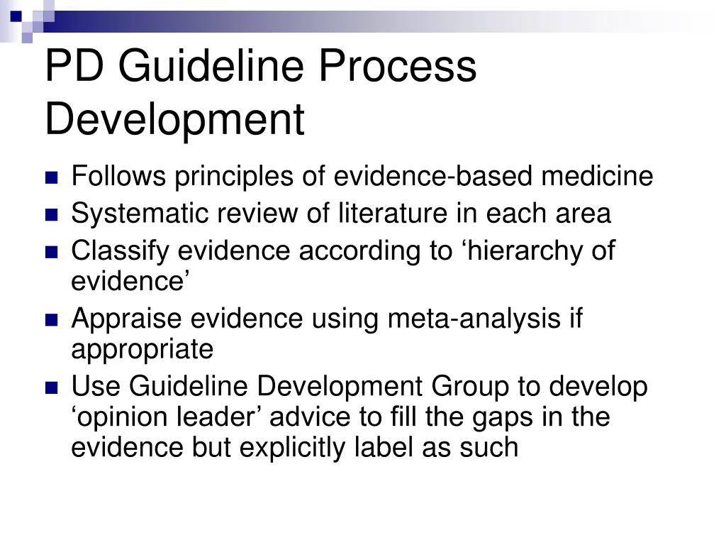 PD Guideline Process
