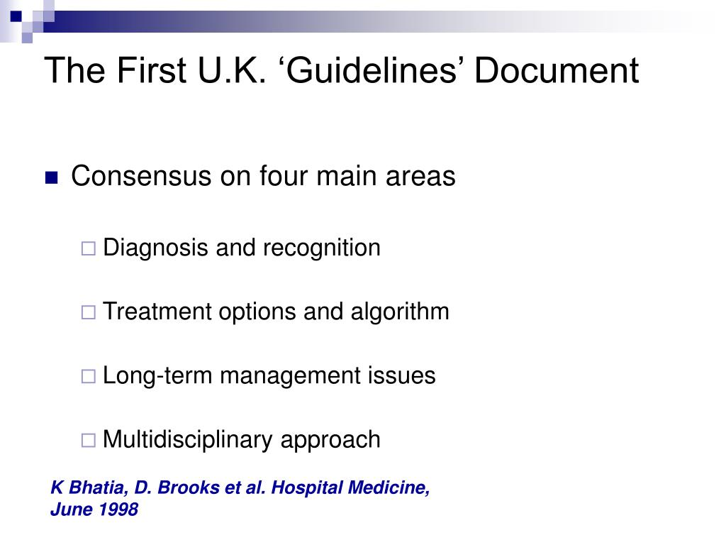 The First U.K. 'Guidelines' Document