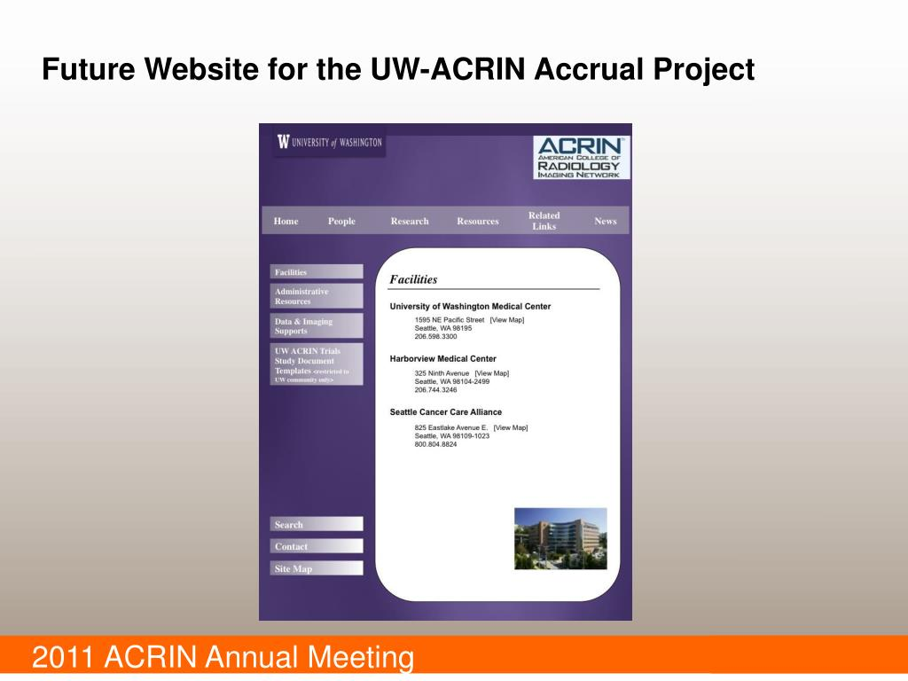 Future Website for the UW-ACRIN Accrual Project