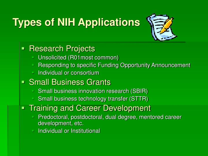 Types of nih applications