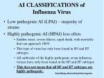 ai classifications of influenza virus