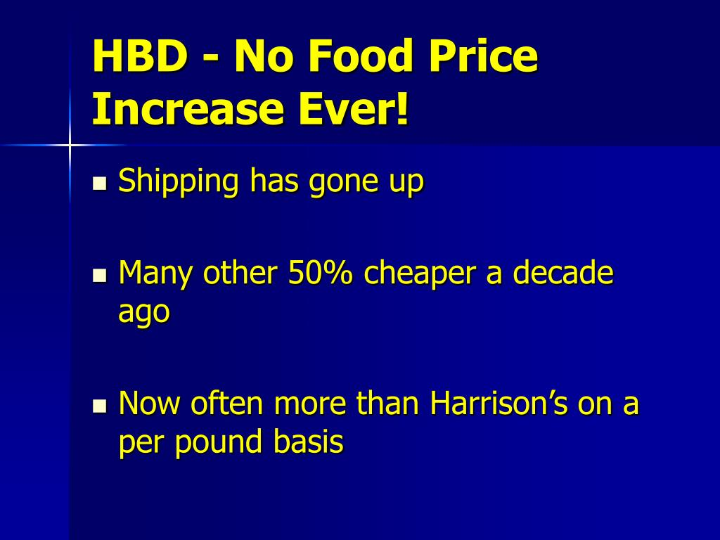 HBD - No Food Price Increase Ever!