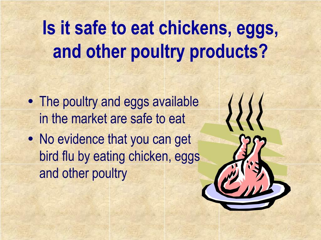 Is it safe to eat chickens, eggs, and other poultry products?