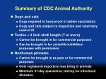 summary of cdc animal authority