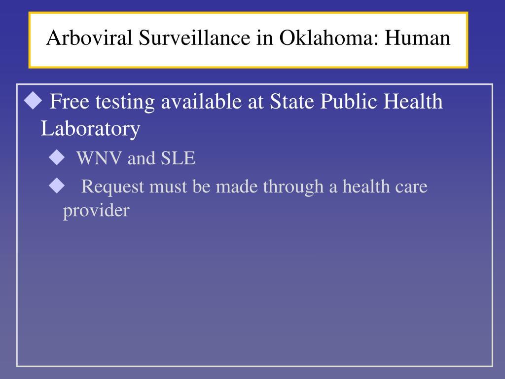 Arboviral Surveillance in Oklahoma: Human