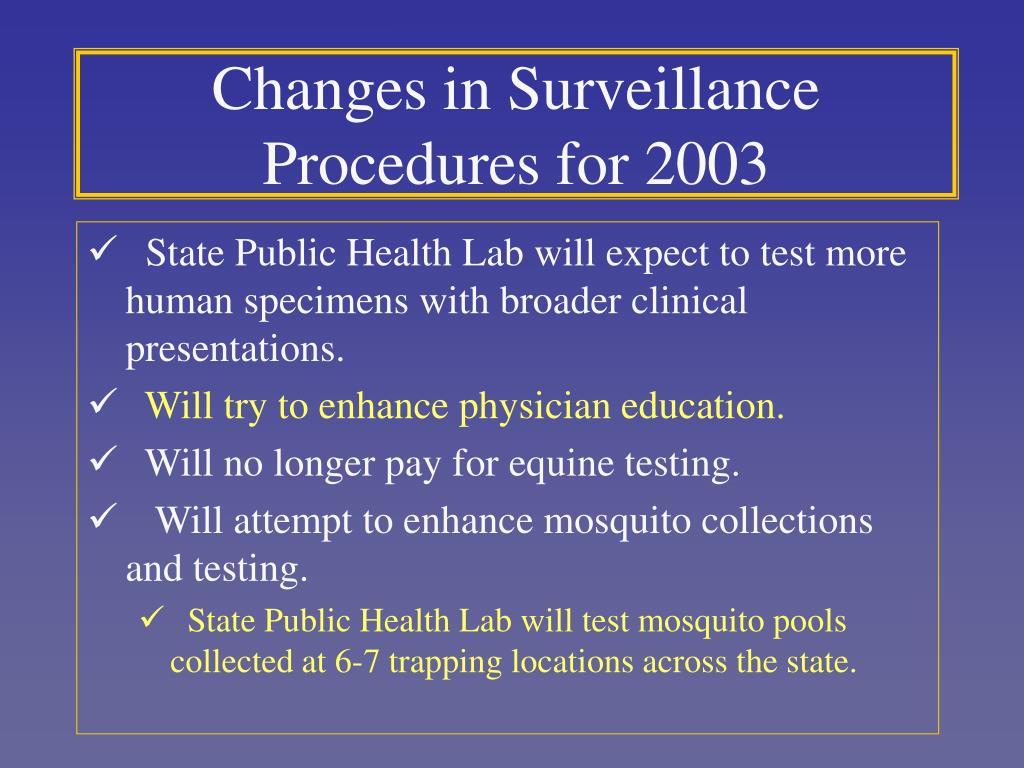 Changes in Surveillance Procedures for 2003