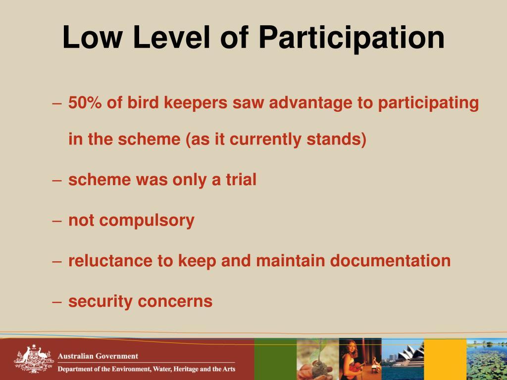 Low Level of Participation