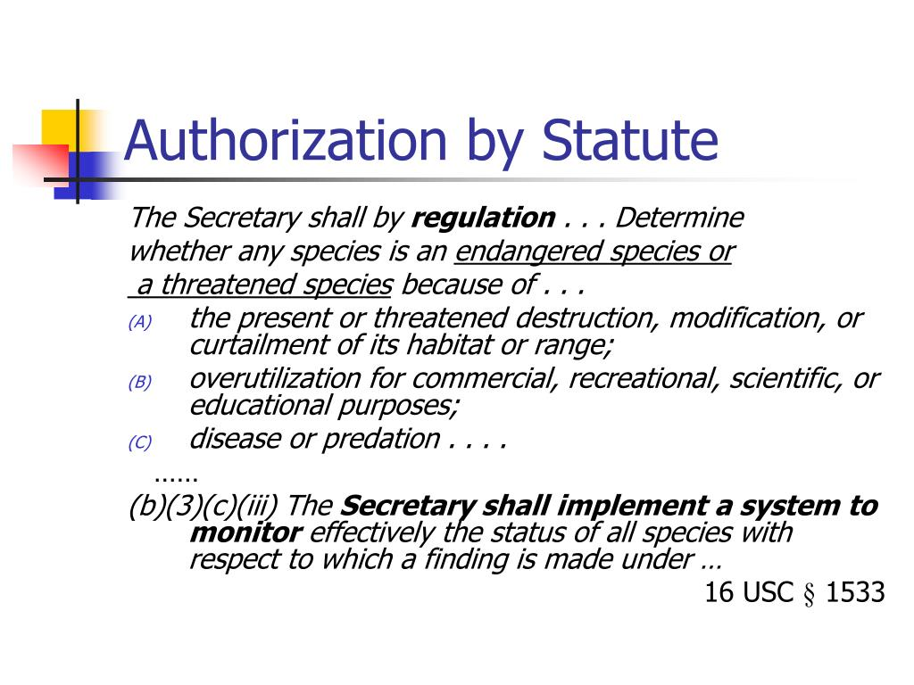 Authorization by Statute