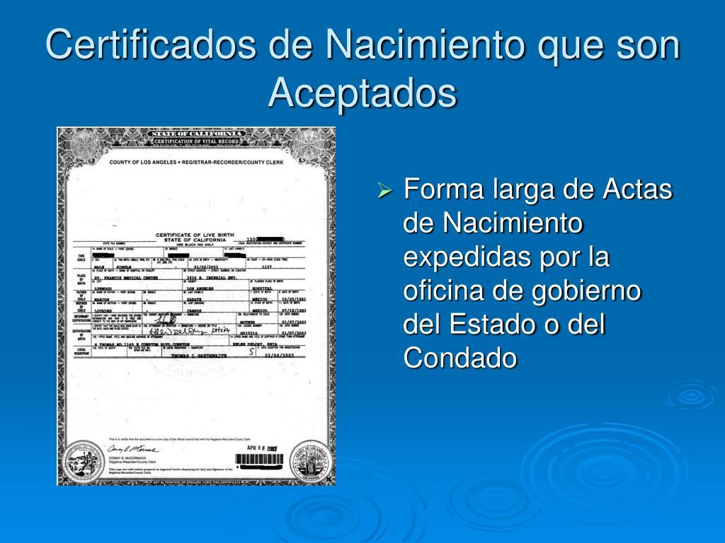 Certificados de Nacimiento que son Aceptados