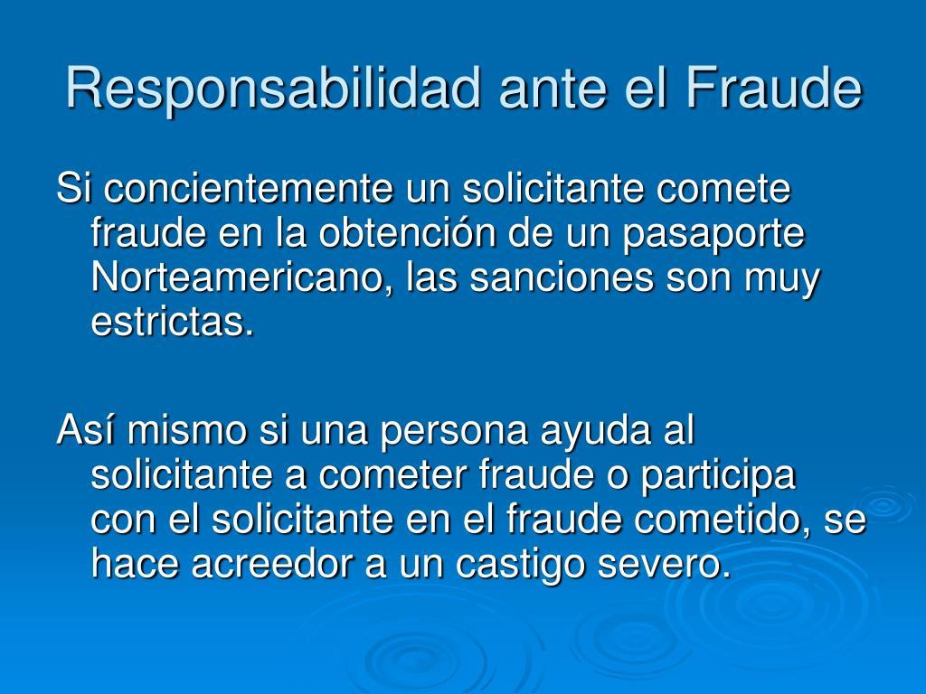 Responsabilidad ante el Fraude