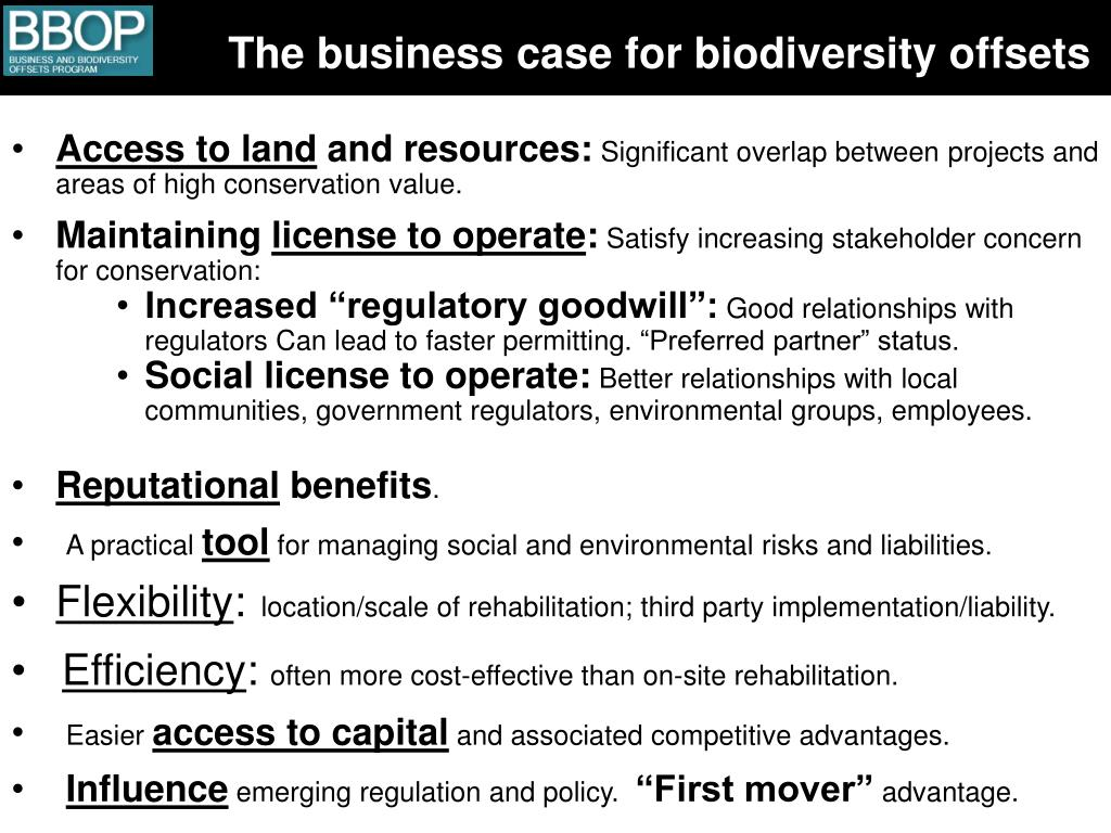 The business case for biodiversity offsets