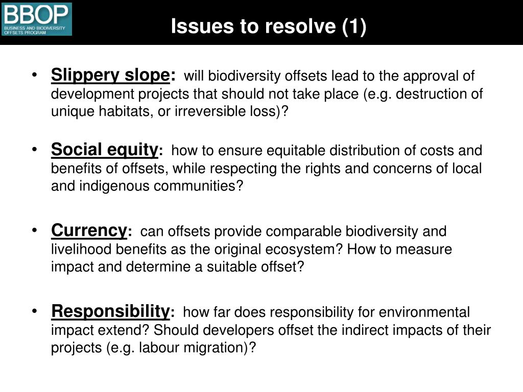 Issues to resolve (1)