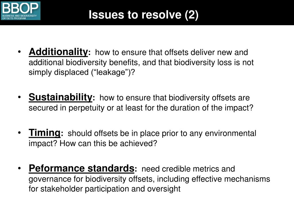 Issues to resolve (2)