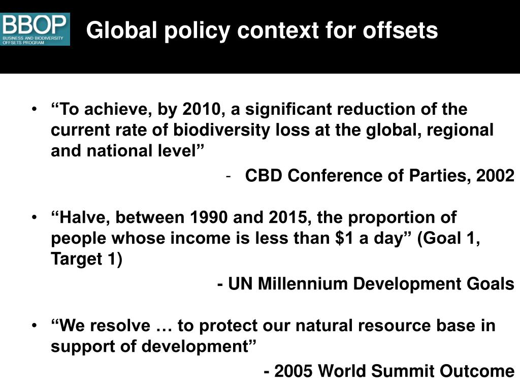 Global policy context for offsets