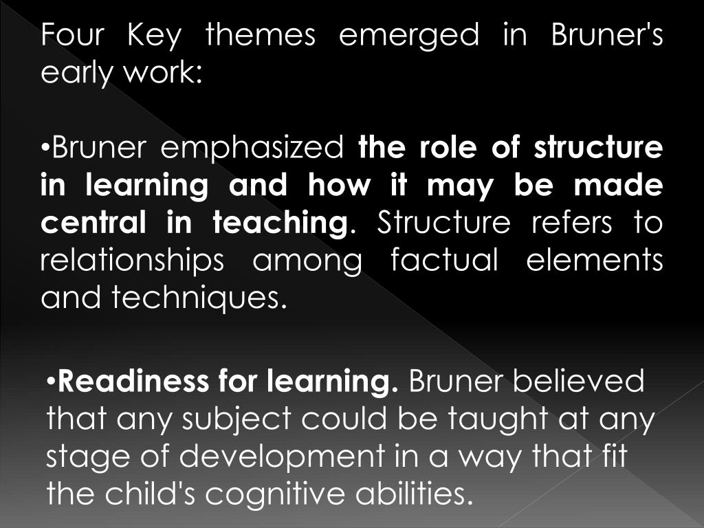 Four Key themes emerged in Bruner's early work: