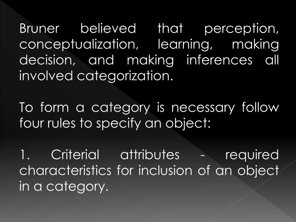 Bruner believed that perception, conceptualization, learning, making decision, and making inferences all involved categorization.