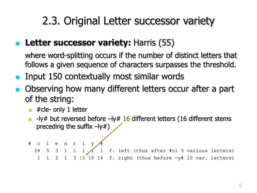 2.3. Original Letter successor variety
