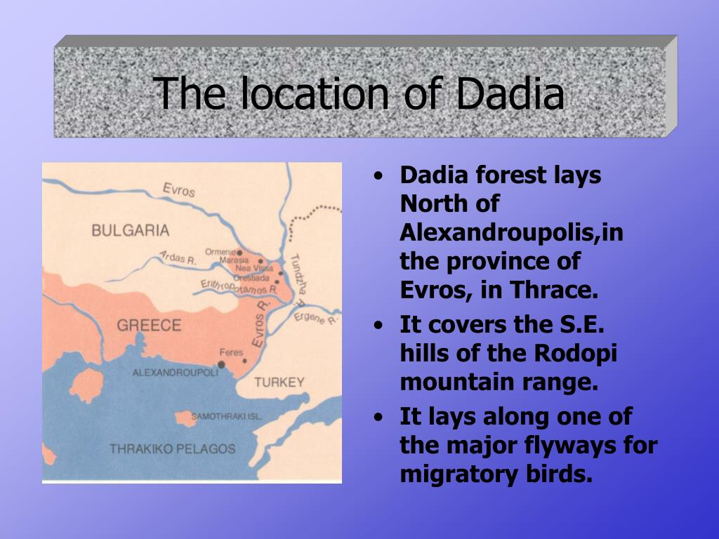 The location of Dadia
