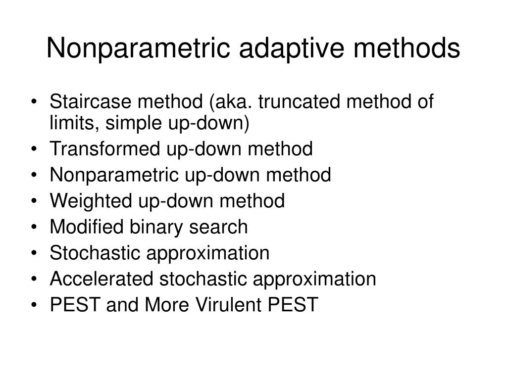 Nonparametric adaptive methods