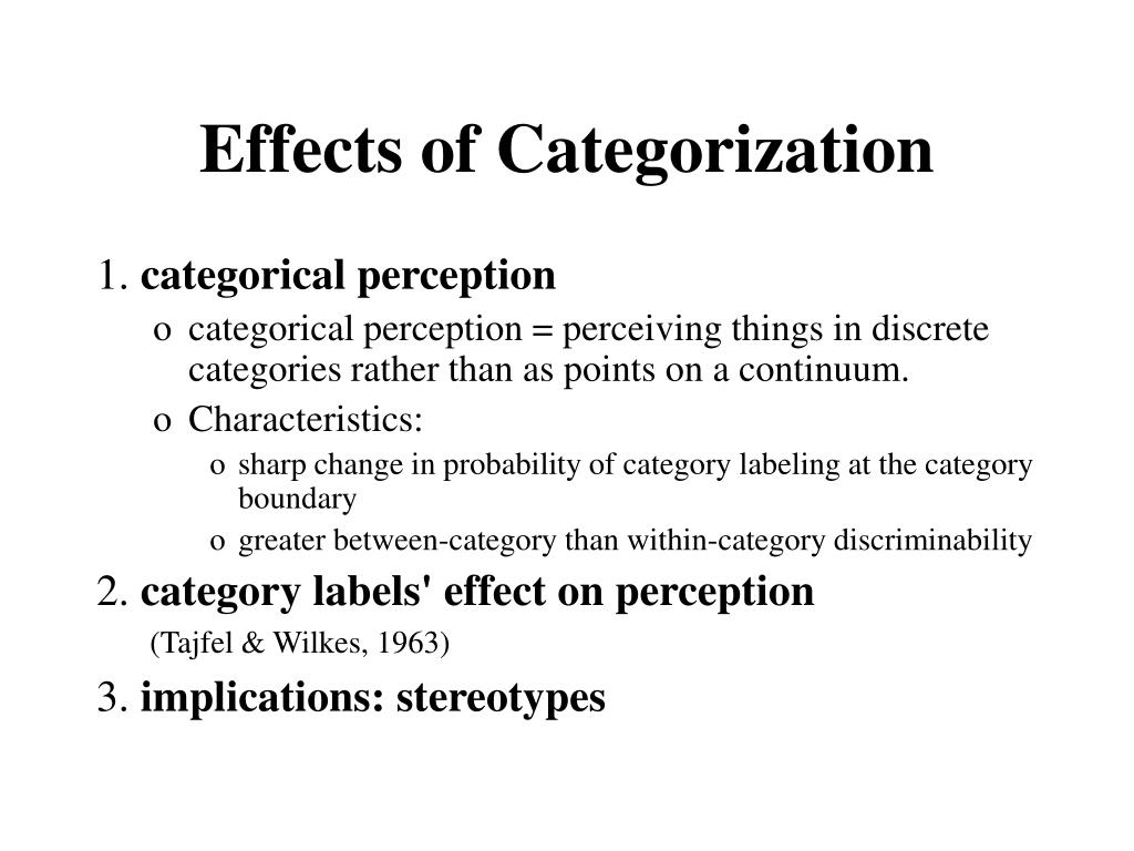 Effects of Categorization