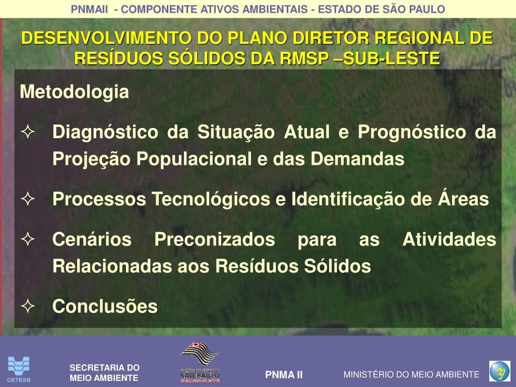 DESENVOLVIMENTO DO PLANO DIRETOR REGIONAL DE  RESÍDUOS SÓLIDOS DA RMSP –SUB-LESTE