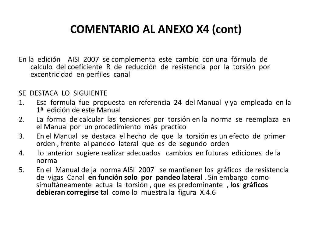COMENTARIO AL ANEXO X4 (cont)