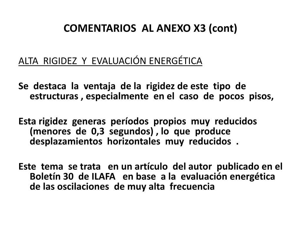 COMENTARIOS  AL ANEXO X3 (cont)